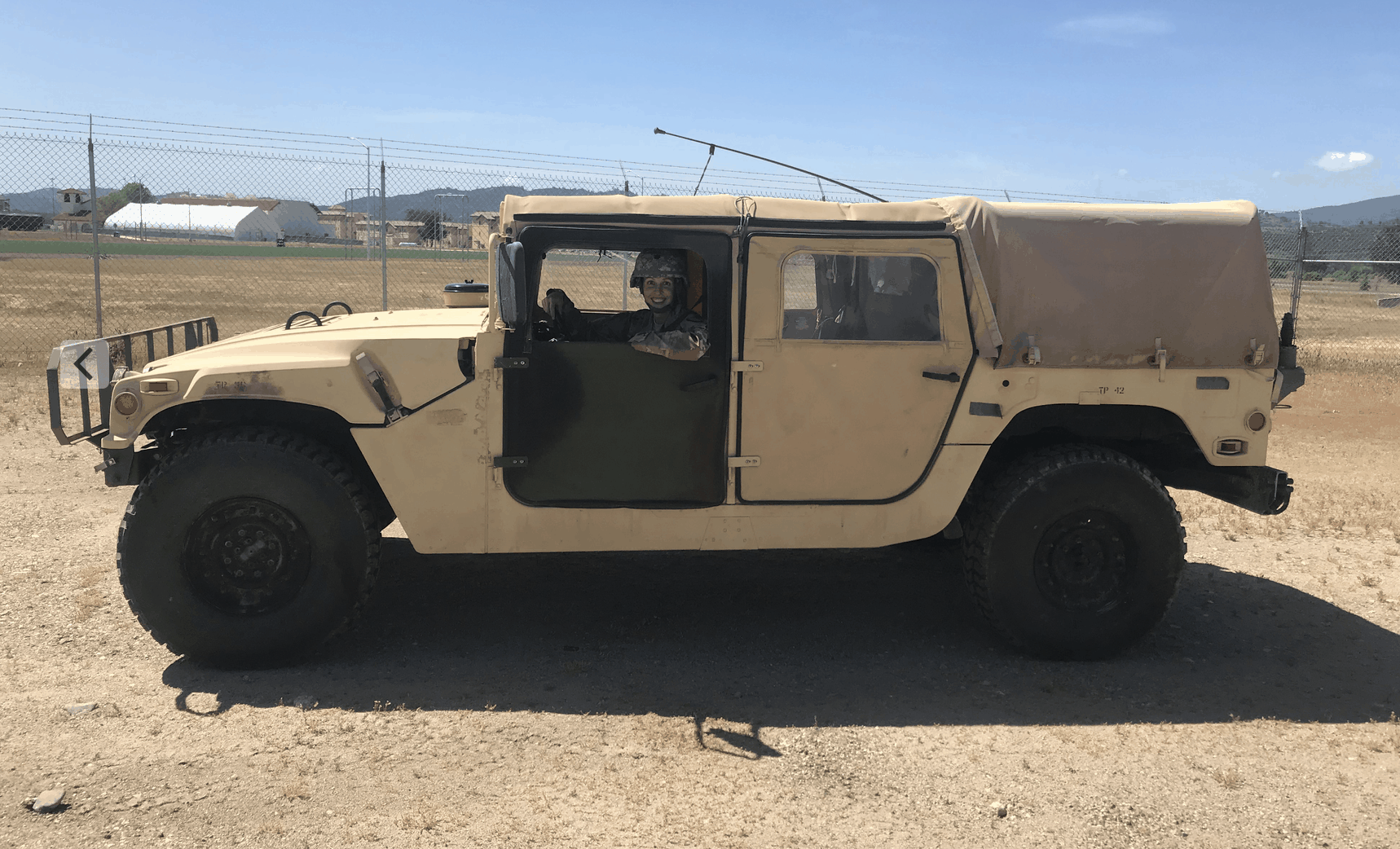 Jewell Siebert in an old HMMWV